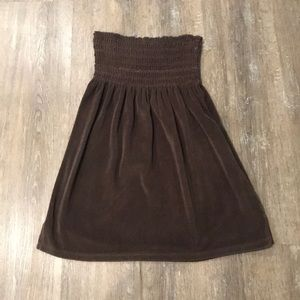Brown Terry Cloth Material Tube-Top Coverup-Size L